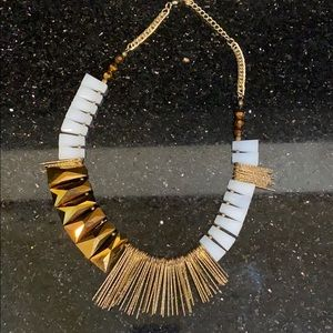 Anthropologie Gold/White Mixed Fringe Necklace